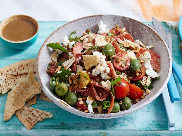 Salami, lentil and heirloom tomato fattoush salad