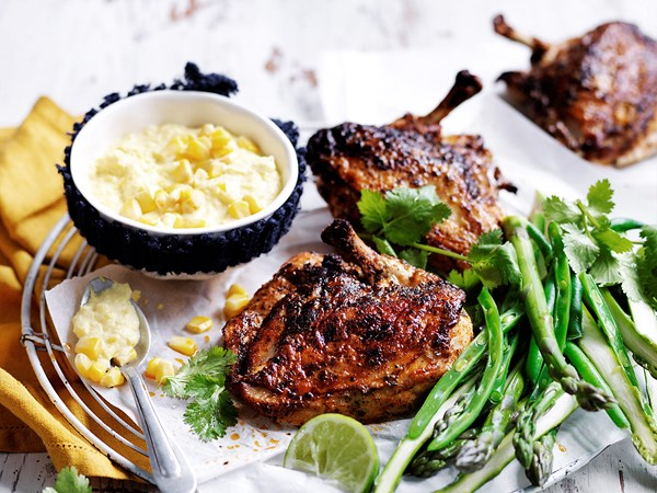 Cajun roast chicken with corn cream