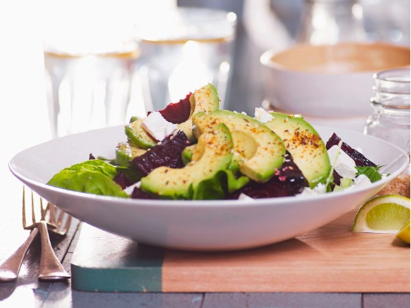 Spiced avocado and roasted beetroot salad with feta