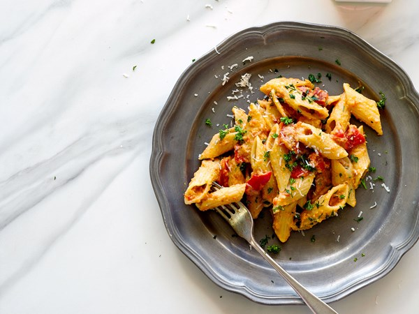Roasted pepper romesco with pasta