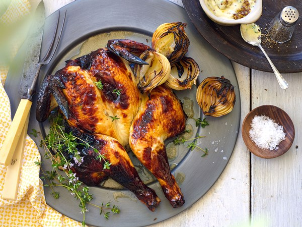 Butterflied chicken with wine, thyme and honey marinade