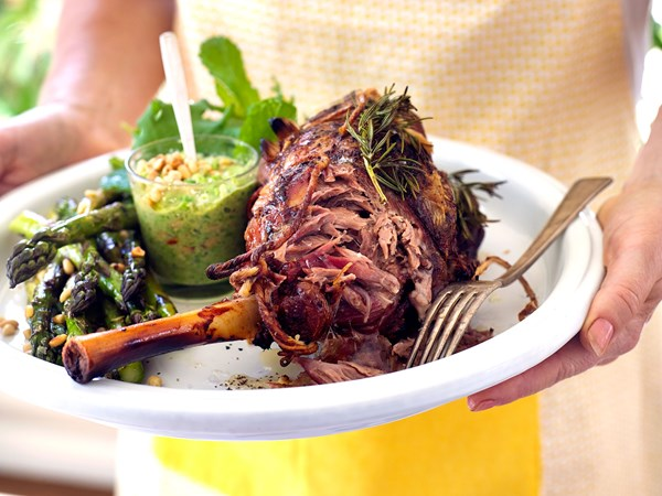 Slow-roasted lamb shoulder with minted pea pesto