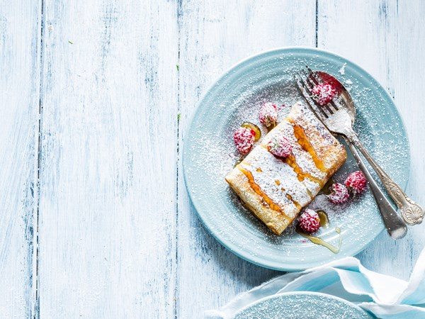 French toasted apple and raspberry tortilla parcels