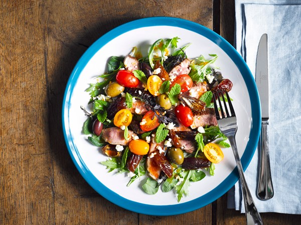 Lamb and medjool date salad with olives and feta
