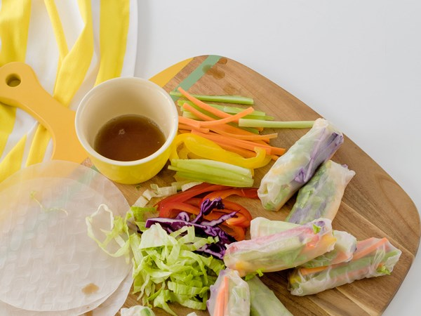 Kid-friendly vegetable rice paper rolls