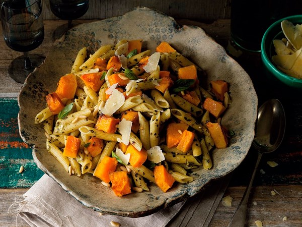 Roast pumpkin and pesto pasta