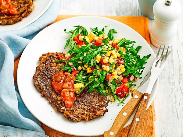 Char-grilled steak with corn and rocket salad
