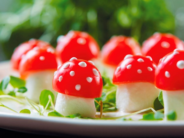 Bocconcini and tomato toadstool nibbles