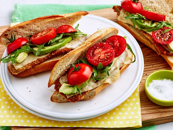 Schnitzel, cheese and avocado baguette