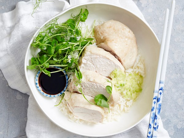 Cantonese poached chicken with ginger and onion