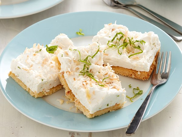 Coconut, lime and mint marshmallow slice