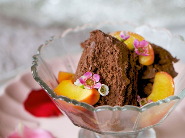 Chocolate mousse with poached peaches