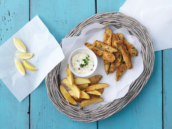 Crumbed gurnard with fries and caper mayonnaise