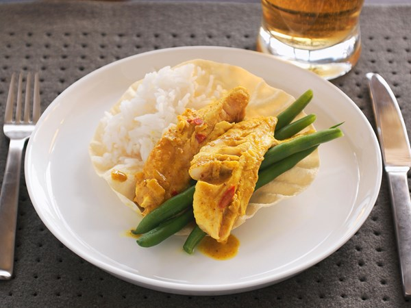 Coconut hoki fish curry