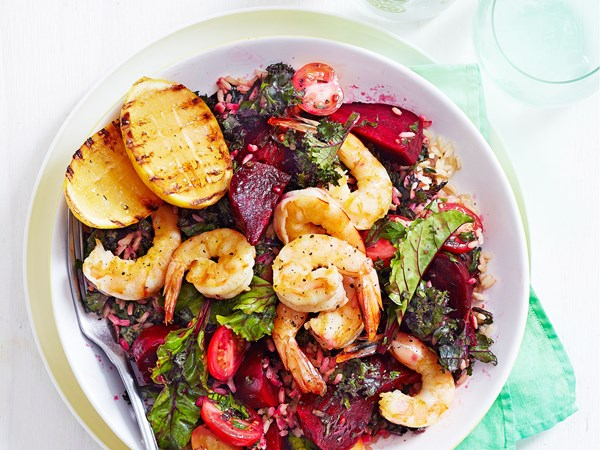 Prawn, beetroot and kale salad