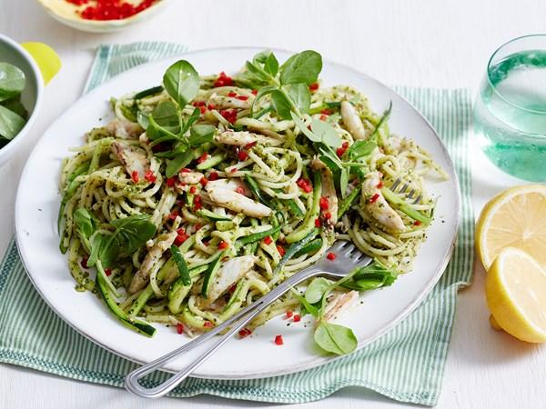 Zucchini spaghetti with crab and pea pesto