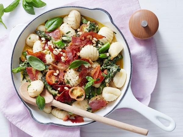 Caprese gnocchi with crispy prosciutto and asparagus