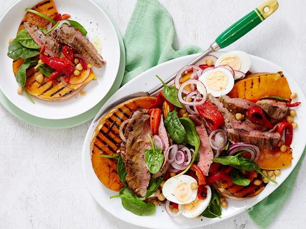 Steak, pumpkin and chickpea salad