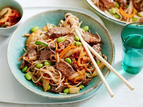 Sesame beef, edamame and kimchi noodles