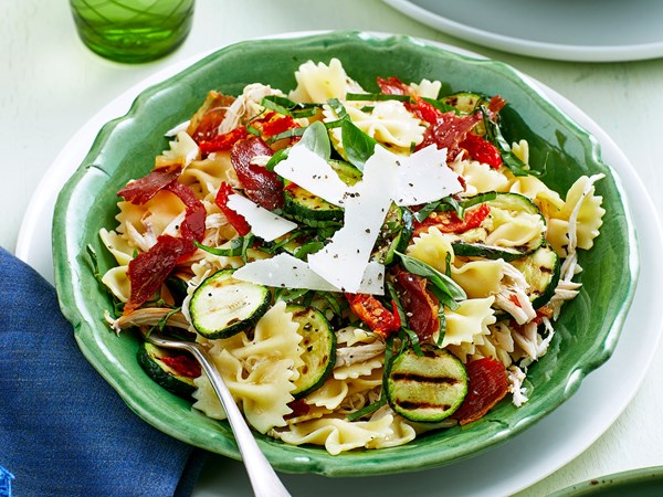 Char-grilled courgette and chicken pasta