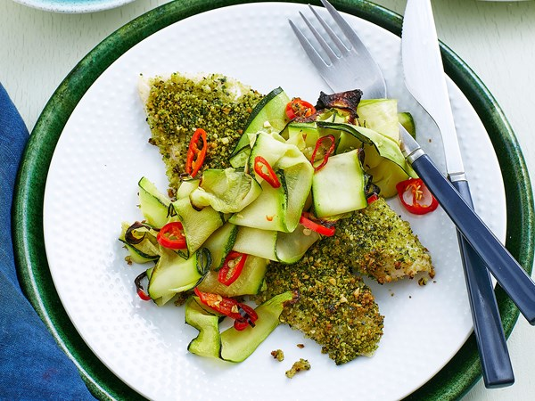 Baked herbed fish and courgettes
