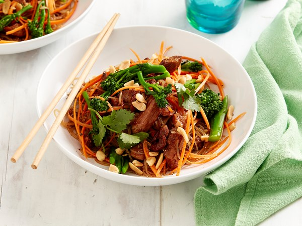 Broccolini with char siu pork and vermicelli noodles