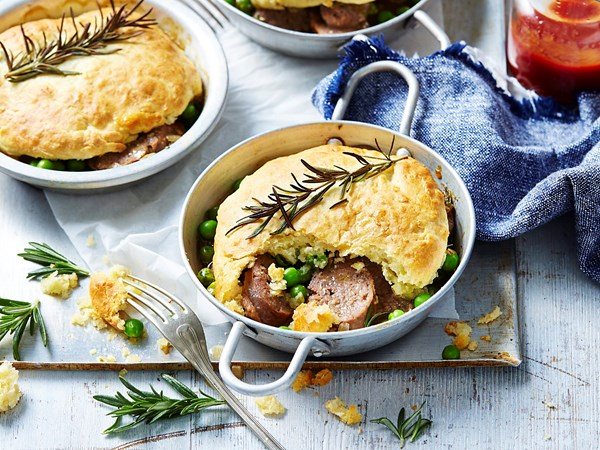Beef and rosemary pies with scone topping