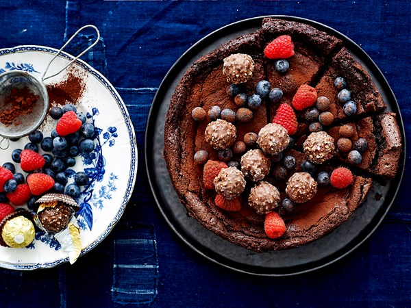 Midnight cake with berries