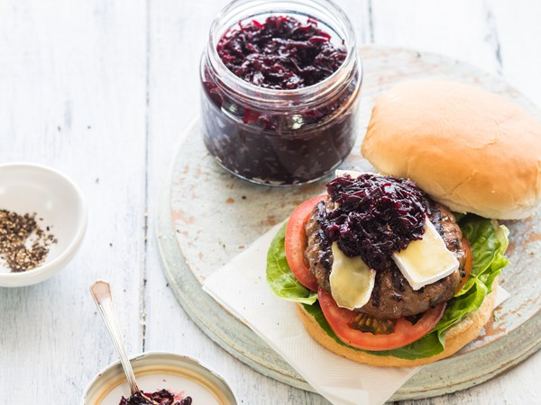 Beef and brie burgers with easy beetroot relish
