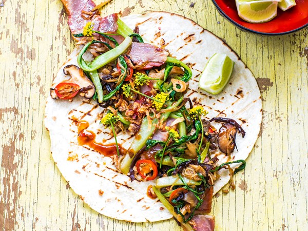 Char siu barbecue pork tacos with mixed mushroom and ginger stir-fry