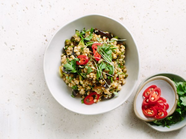 Sorghum and roasted eggplant salad with pomegranate dressing