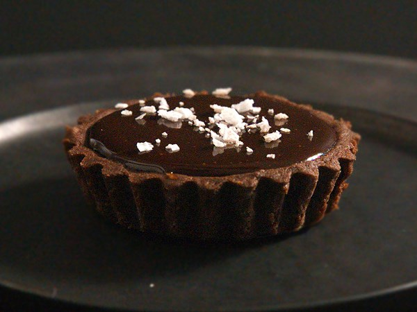 Salted chocolate hazelnut tarts