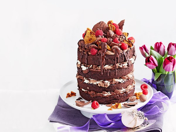 Honeycomb choc layer Easter cake