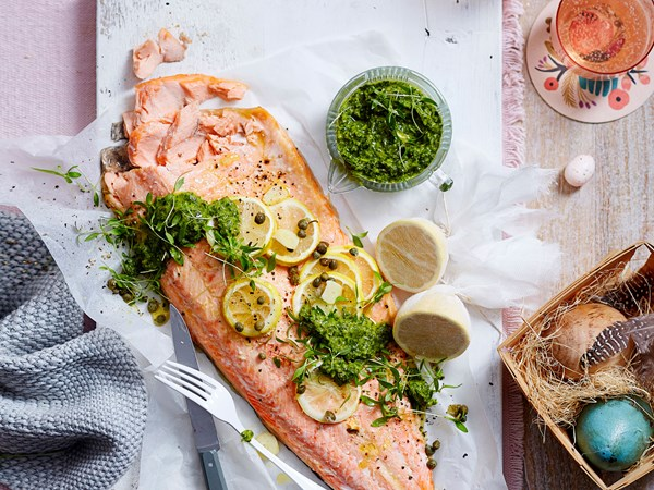 Oven-baked salmon with salsa verde