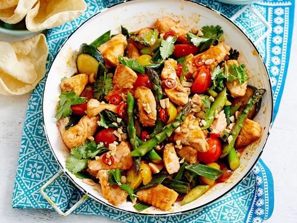 Asparagus, tomato and salmon stir-fry