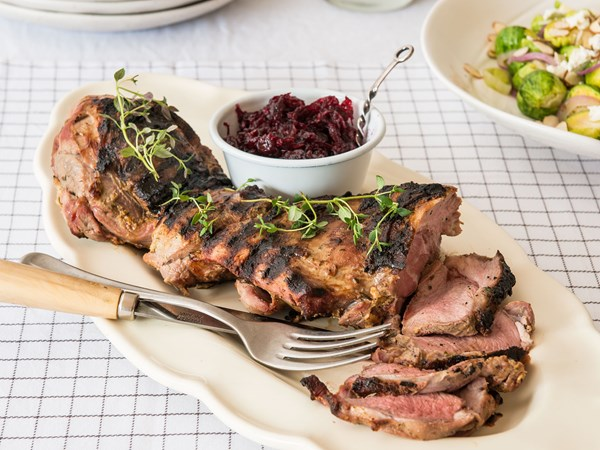 Butterflied leg of lamb with beetroot chutney