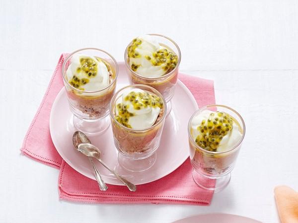 Chocolate passionfruit hot cross bun puddings