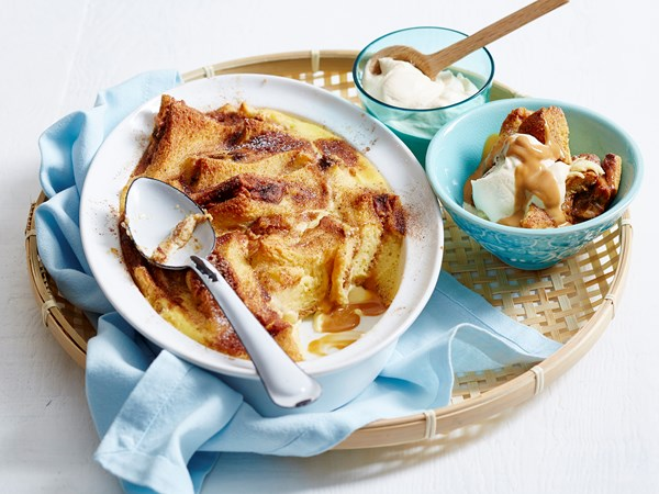 Banana and caramel bread and butter pudding