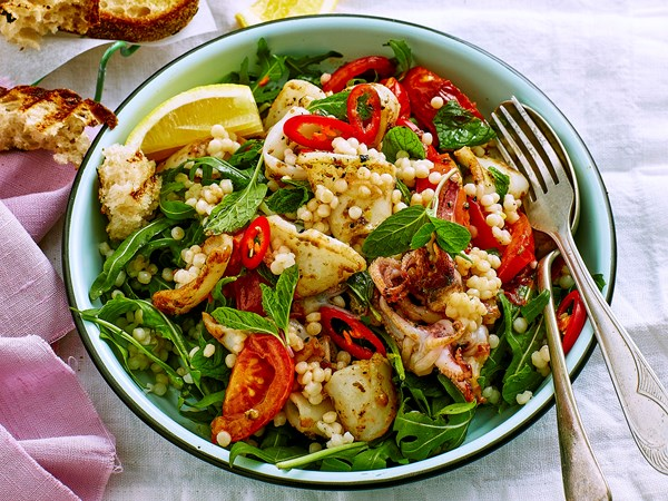 Fennel squid and chilli couscous