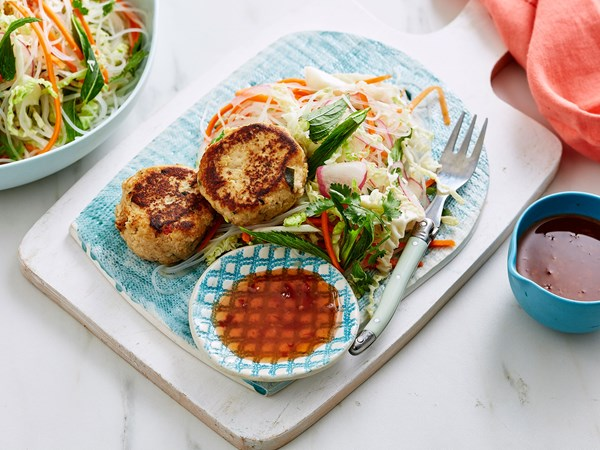 Thai chicken cakes with pickled cabbage salad