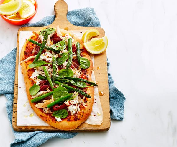 Chicken, asparagus and goat's cheese pizza recipe | Food ...