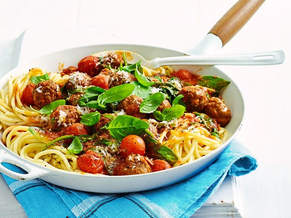 Cheesy stuffed meatballs and spaghetti