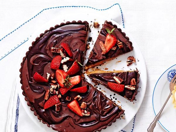 Caramel pecan double-choc tart