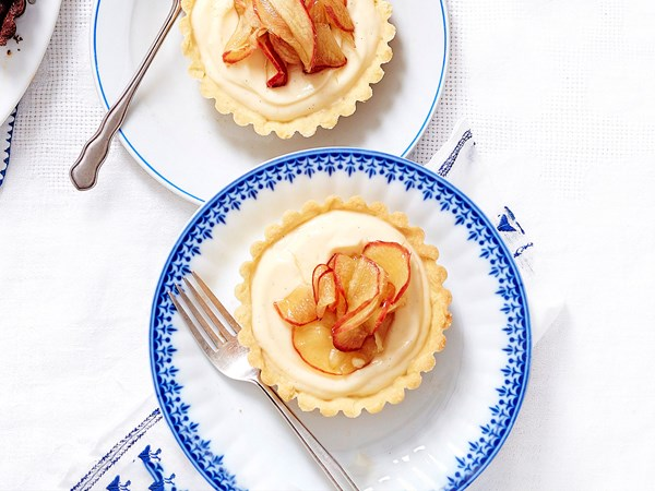 Brandy custard and toffee apple tarts