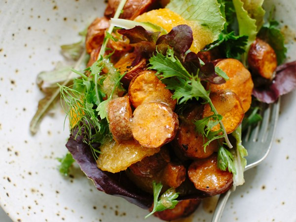 Roasted kumara and orange salad with miso dressing