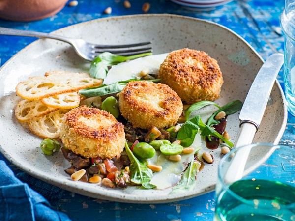 Cauliflower fritters with caponata and vincotto