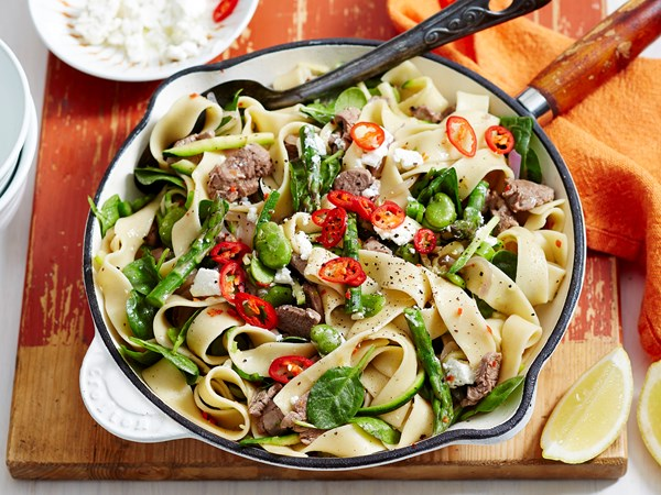 Lamb and zucchini pappardelle