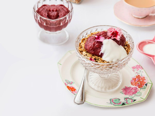 Maple granola with rhubarb and berry purée