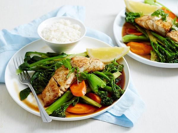 Glazed fish with stir-fried vegetables