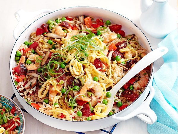 Fried rice with Chinese sausages and prawns